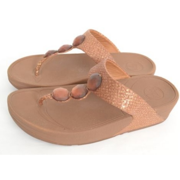 12ddf71e80ec Fitflop Shoes - Fitflop Brown Bronze Snake Jewel Sandals